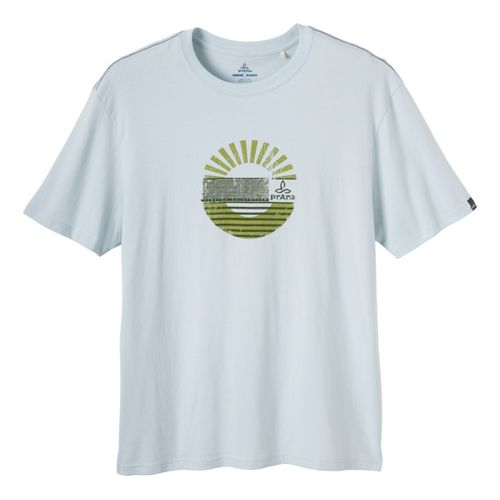 Mens Prana Sunrise Short Sleeve Non-Technical Tops - Light Blue S