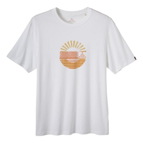 Mens Prana Sunrise Short Sleeve Non-Technical Tops - White XXL