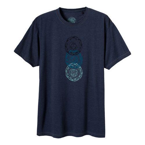 Mens Prana Linked Short Sleeve Technical Tops - Dress Blue L