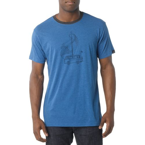 Mens Prana Road Trip Short Sleeve Technical Tops - Sapphire S