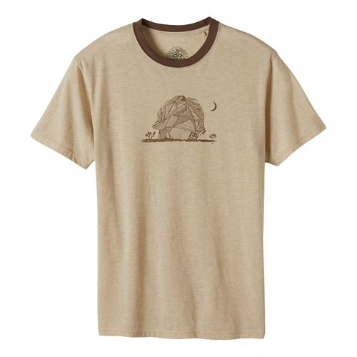 Mens Prana Joshua Tree Short Sleeve Technical Tops - Stone L