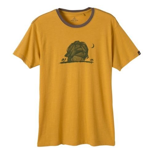 Mens Prana Joshua Tree Short Sleeve Technical Tops - Toffee XXL