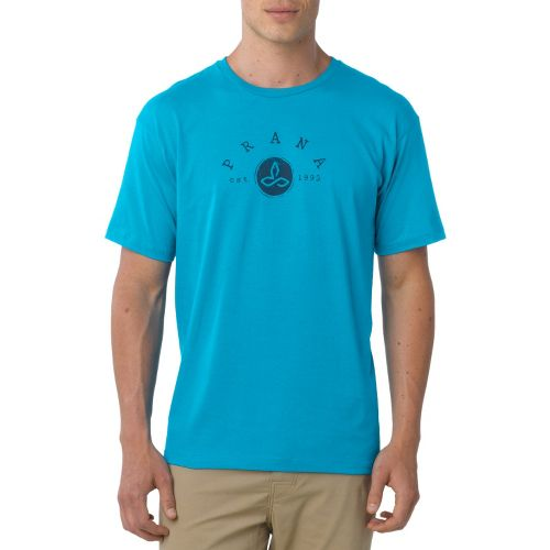 Mens Prana Classic Short Sleeve Non-Technical Tops - Turquoise XXL