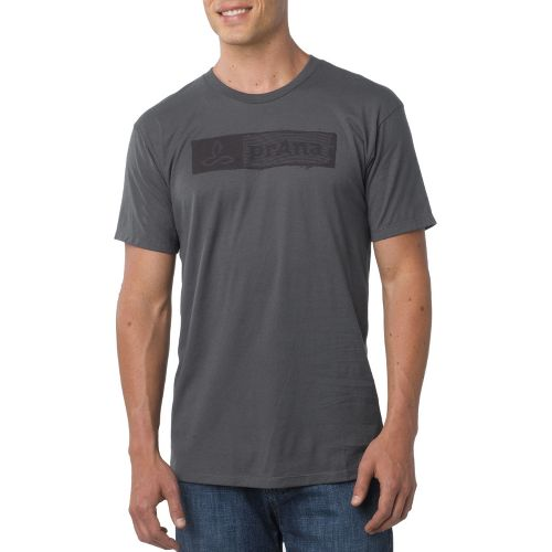 Mens Prana Stamp Short Sleeve Non-Technical Tops - Charcoal S