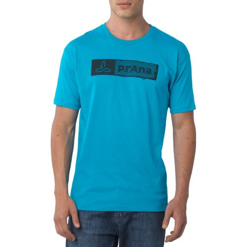 Mens Prana Stamp Short Sleeve Non-Technical Tops - Turquoise XXL