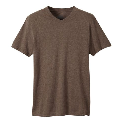 Mens prAna V-Neck Short Sleeve Non-Technical Tops - Brown Heather L
