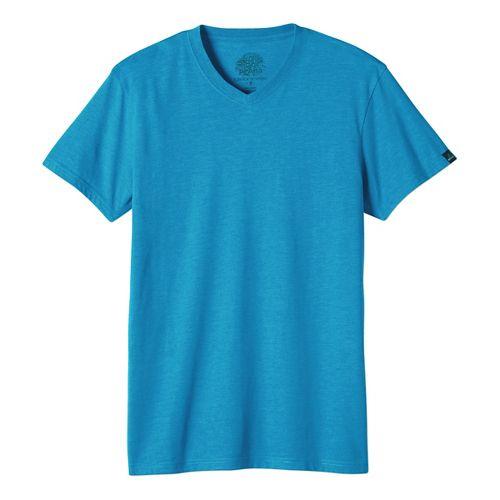 Mens prAna V-Neck Short Sleeve Non-Technical Tops - Brown Heather L
