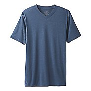 Mens Prana V-Neck Short Sleeve Non-Technical Tops - Denim Heather XXL