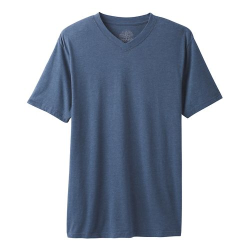 Mens prAna V-Neck Short Sleeve Non-Technical Tops - Denim Heather XL