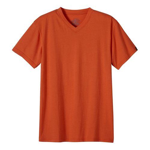 Mens prAna V-Neck Short Sleeve Non-Technical Tops - Green L