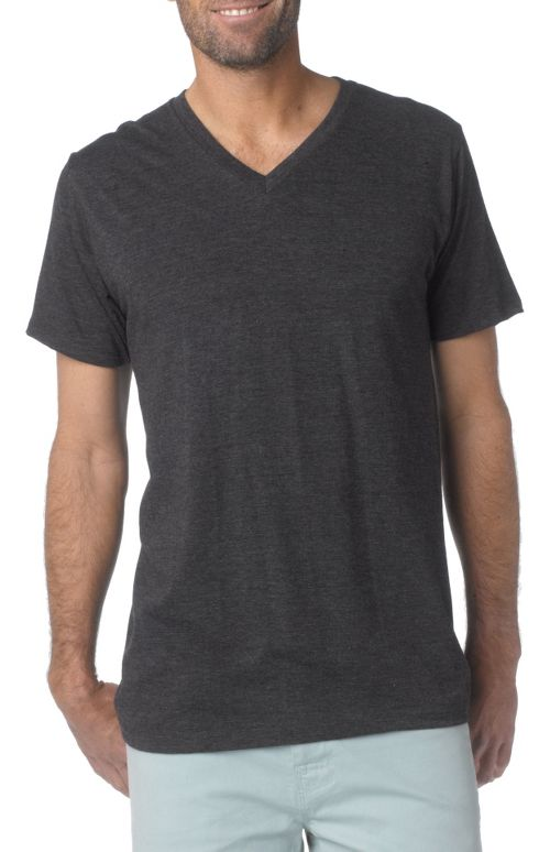 Mens prAna V-Neck Short Sleeve Non-Technical Tops - Charcoal M