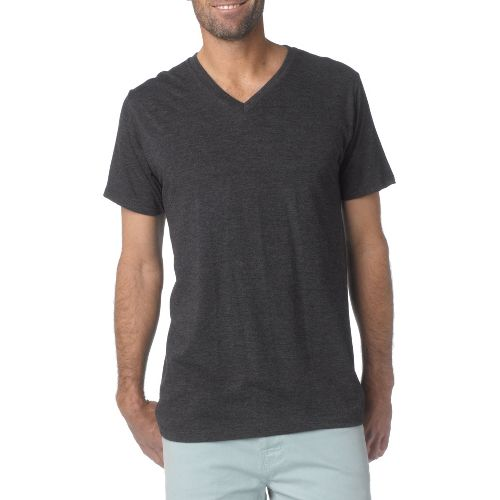 Mens prAna V-Neck Short Sleeve Non-Technical Tops - Charcoal M