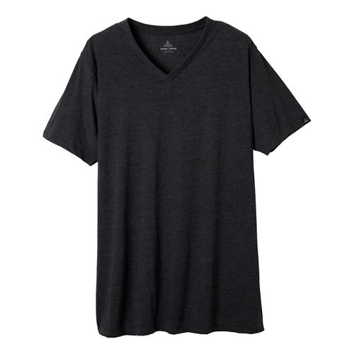 Mens Prana V-Neck Short Sleeve Non-Technical Tops - Charcoal Heather L
