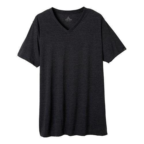 Mens prAna V-Neck Short Sleeve Non-Technical Tops - Charcoal Heather L