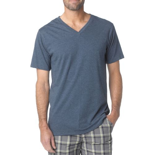 Mens Prana V-Neck Short Sleeve Non-Technical Tops - Navy S