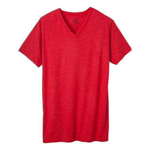 Mens Prana V-Neck Short Sleeve Non-Technical Tops - Red Heather XL