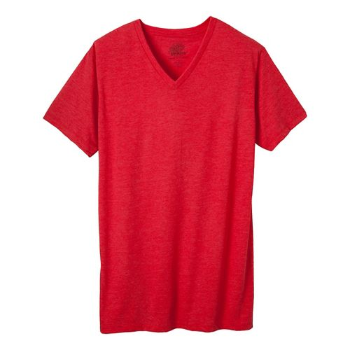 Mens Prana V-Neck Short Sleeve Non-Technical Tops - Red Heather XXL