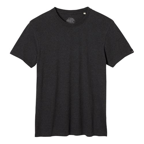 Mens prAna Crew Short Sleeve Non-Technical Tops - Charcoal Heather L
