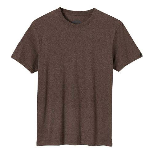 Mens prAna Crew Short Sleeve Non-Technical Tops - Brown Heather S
