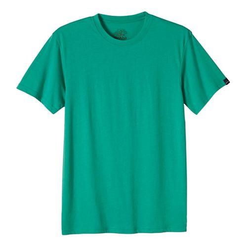 Mens prAna Crew Short Sleeve Non-Technical Tops - Green XL