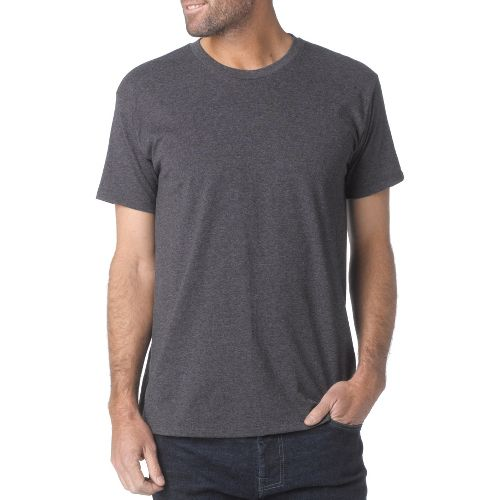 Mens prAna Crew Short Sleeve Non-Technical Tops - Charcoal XXL