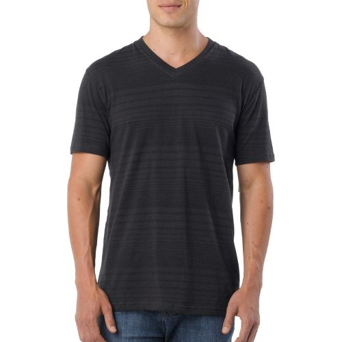 Mens Prana Vasquez V-Neck Short Sleeve Technical Tops - Charcoal XXL