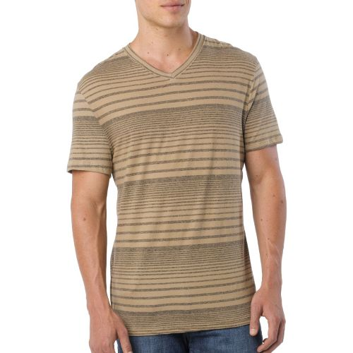 Mens Prana Vasquez V-Neck Short Sleeve Technical Tops - Dark Khaki S