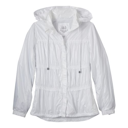 Womens Prana Tegan Warm-Up Hooded Jackets - White XL