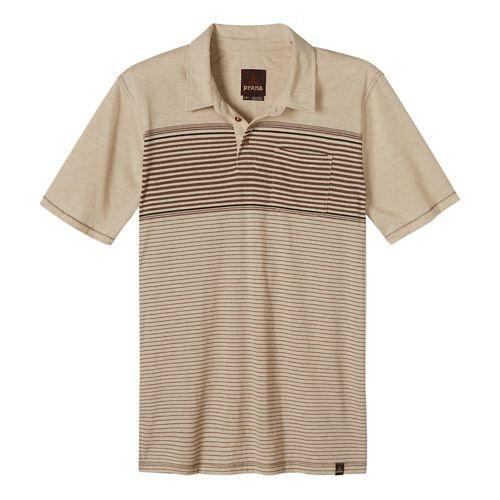 Mens Prana Marco Polo Short Sleeve Technical Tops - Stone L