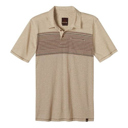 Mens Prana Marco Polo Short Sleeve Technical Tops - Stone XL