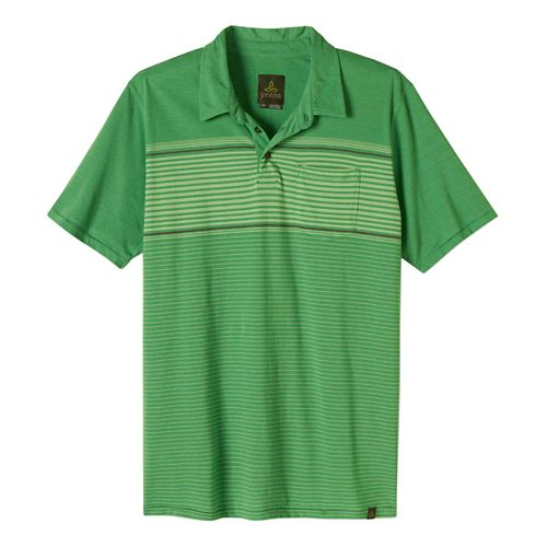 Mens Prana Marco Polo Short Sleeve Technical Tops - Seaweed L