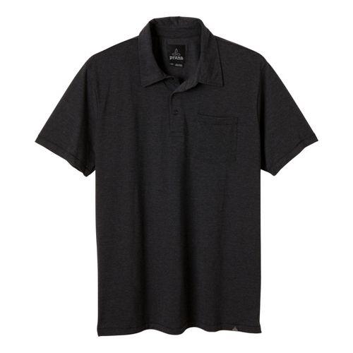 Mens Prana Marco Polo Short Sleeve Technical Tops - Black Heather S