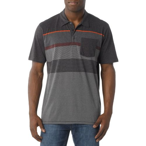 Mens Prana Marco Polo Short Sleeve Technical Tops - Charcoal XL