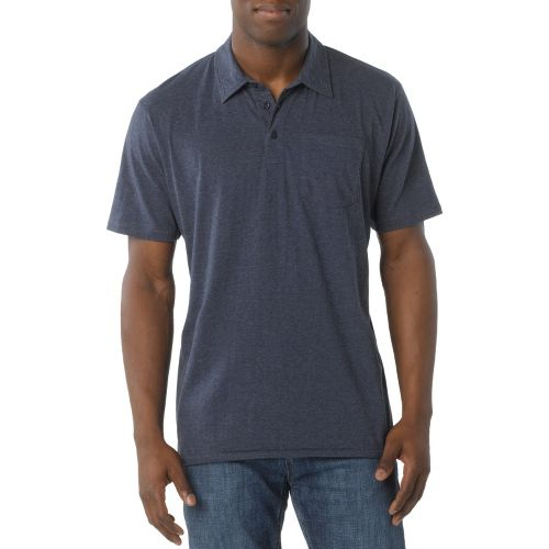 Mens Prana Marco Polo Short Sleeve Technical Tops - Dress Blue XXL