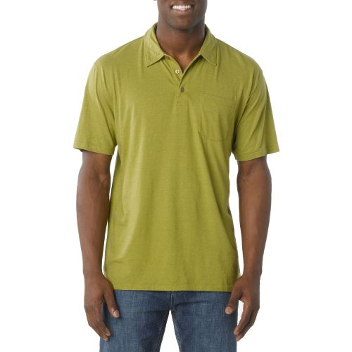 Mens Prana Marco Polo Short Sleeve Technical Tops - Spinach L