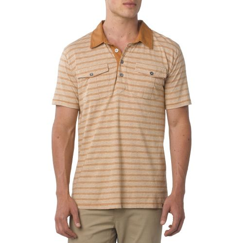 Mens Prana De Silva Polo Short Sleeve Non-Technical Tops - Stone XXL