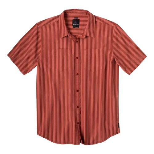 Mens Prana Curtis Short Sleeve Technical Tops - Indian Red L