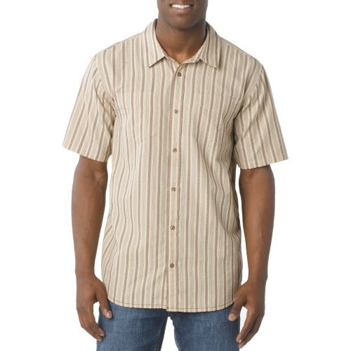 Mens Prana Curtis Short Sleeve Technical Tops - Stone L