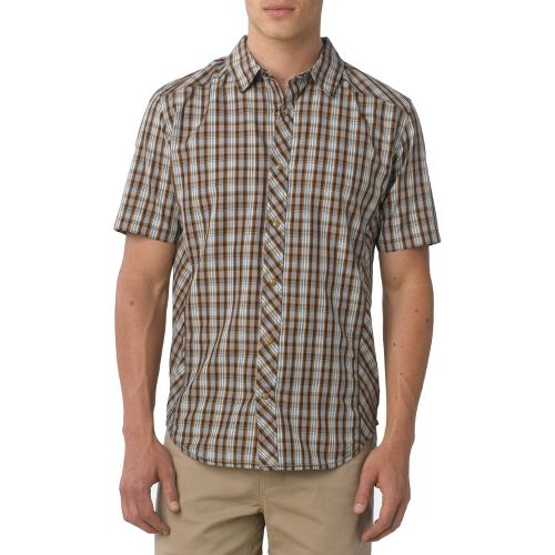 Mens Prana Bryant Short Sleeve Non-Technical Tops - Brown XXL