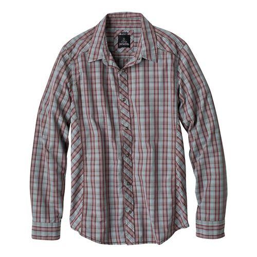 Mens Prana Bryant Short Sleeve Non-Technical Tops - Mahogany XL