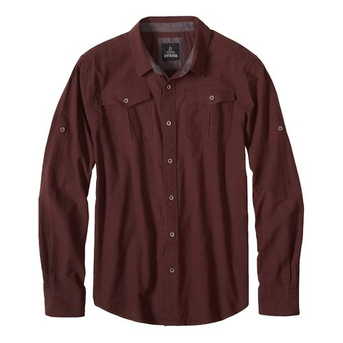 Mens prAna Rollin Short Sleeve Non-Technical Tops - Brown L