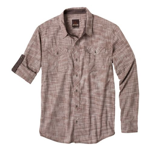 Mens Prana Rollin Short Sleeve Non-Technical Tops - Mud L