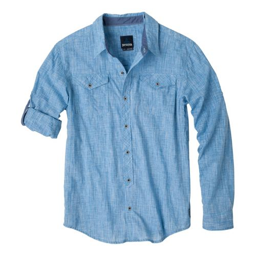 Mens Prana Rollin Short Sleeve Non-Technical Tops - Splash L
