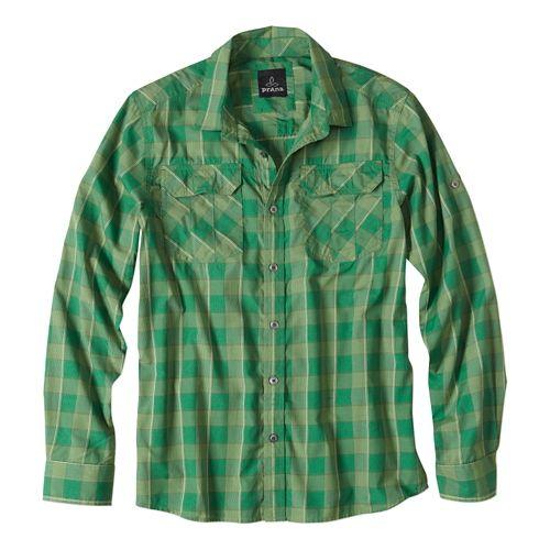 Mens Prana Terrain Short Sleeve Non-Technical Tops - Cool Green L