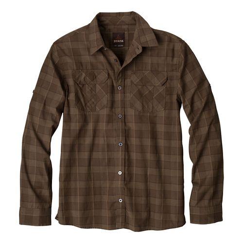 Mens Prana Terrain Short Sleeve Non-Technical Tops - Brown S