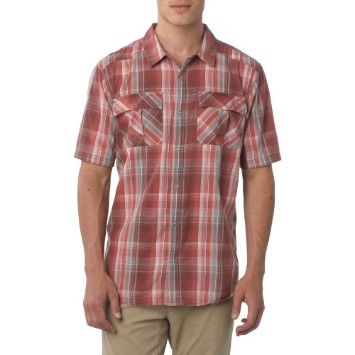 Mens Prana Midas Short Sleeve Non-Technical Tops - Raisin XL
