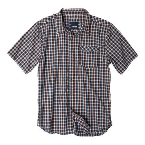 Mens Prana Arrow Short Sleeve Non-Technical Tops - Blue Ash L
