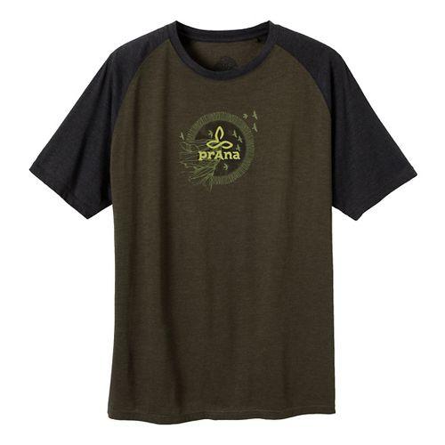 Mens Prana Cliff Short Sleeve Non-Technical Tops - Dark Olive L