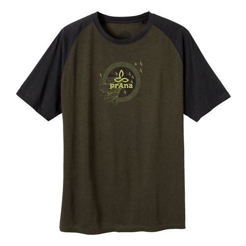 Mens Prana Cliff Short Sleeve Non-Technical Tops - Dark Olive S