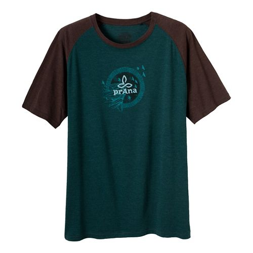 Mens Prana Cliff Short Sleeve Non-Technical Tops - Deep Teal M
